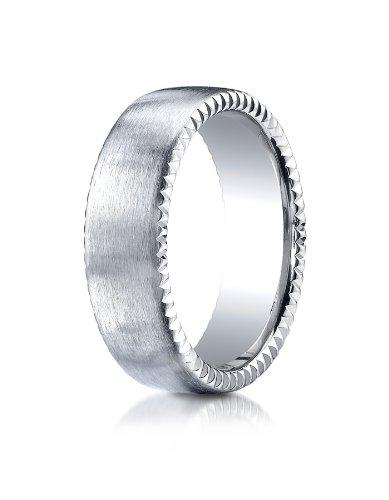18k White Gold 7.5mm Comfort-Fit Satin Rivet Coin Edging Carved Design Wedding Band Ring for Men & - Edging Rivet Coin Gold