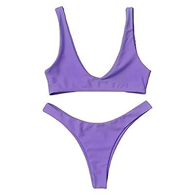 ZAFUL Swimsuit High Cut Cheeky Thong Bikini Scoop Neck Two Piece Bathing Suits for Women
