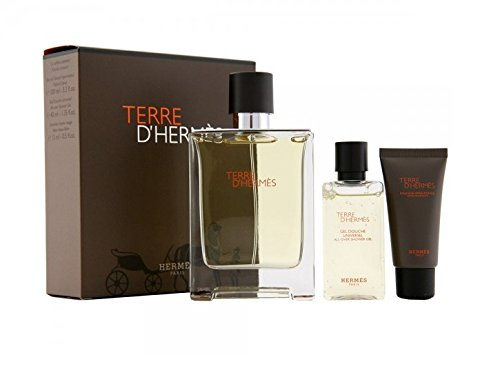TERRE D'HERMES by Hermes - EDT SPRAY 3.4 OZ & ALL OVER SHOWER GEL 1.35 OZ & ALCOHOL FREE AFTERSHAVE BALM .50 OZ