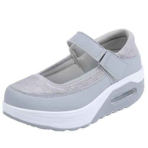 fereshte Womens Casual Handwork Leather Upper Air Platform ToneTM Skylar Flat Shoes For Losing Weight With Buckle Strap Mesh Gray sdZmlFgN