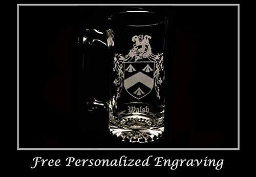 Walsh Irish Family Coat of Arms 27oz Beer Stein: Free Shipping & Personalized Engraving, Family Crest, Etched Clan Crest by LyonCraft
