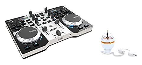 HERCULES INSTINCT S PARTY PACK ultra-mobile USB DJ Controller with Audio Outputs for use with your Headphones and your Speakers + Stand-alone 3-watt USB rotary RGB LED (DJ Equipment)