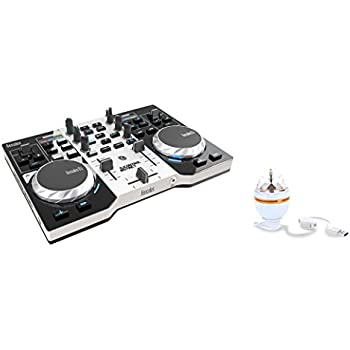 HERCULES INSTINCT S PARTY PACK ultra-mobile USB DJ Controller with Audio Outputs for use with your Headphones and your Speakers + Stand-alone 3-watt USB rotary RGB LED light