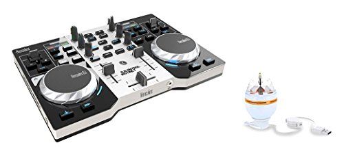 HERCULES INSTINCT S PARTY PACK ultra-mobile USB DJ Controller with Audio Outputs for use with your Headphones and your Speakers + Stand-alone 3-watt USB rotary RGB LED light by Hercules DJ