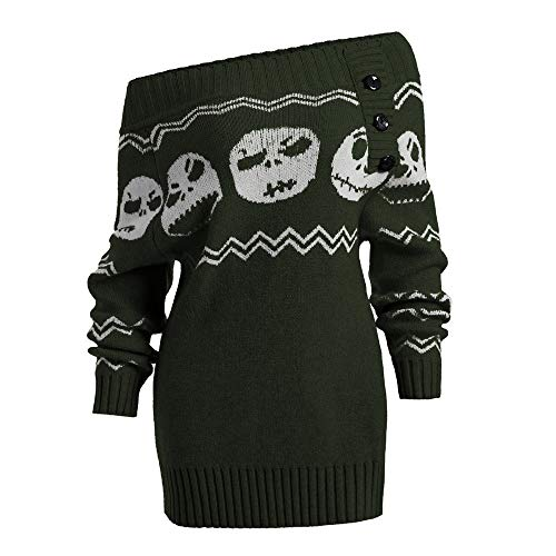 NEARTIME Womens Long Sweater, Fashion Printed Long Sleeve Knitted Blouse Halloween Skull Off Shoulder Botton Tops