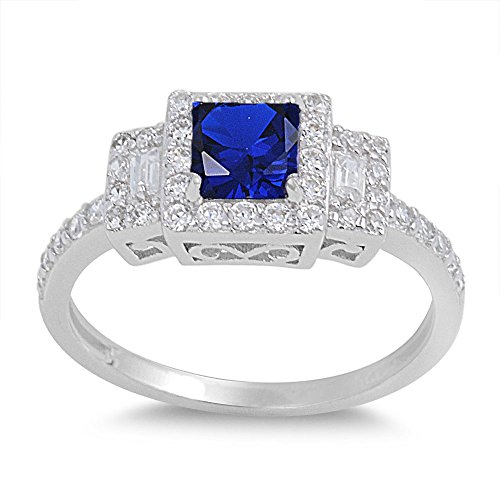 Cocktail Ladies Silver Sterling - CloseoutWarehouse Princess Cut Simulated Sapphire Cubic Zirconia Halo Ring Sterling Silver Size 12
