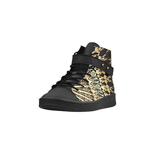 Sneaker Boost Per Le Scarpe Da Donna Geometriche In Oro Nero Con Stampa Geometrica Dorata