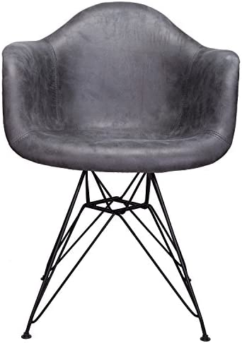 Markle Cool Gray Leatherette Fabric Upholstered DAR Armchair Accent Chair