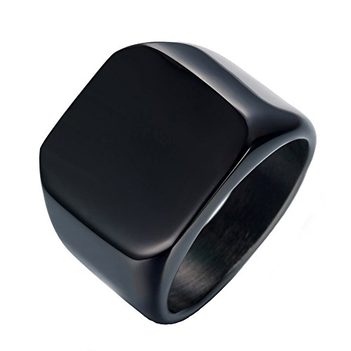 JAJAFOOK Men's Black Tungsten Ring Wedding Band Smooth Edge Square 18mm Wide Rings