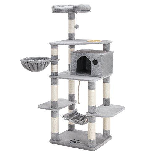 FEANDREA Stabiler Kratzbaum mit Katzennapf, Sisal umwickelte Kratzstellen, Korb und Höhle, Kletterbaum für Katzen 164 cm…