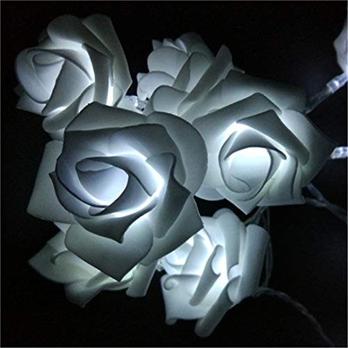 BGFHDSD Events and Parties 2M 20 Wedding Roses LED String Lights Battery Holiday Decoration Light Rosa LED Guirlande Lumineuse White