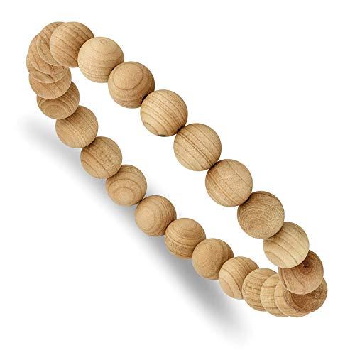 Cypress Wood Bead Stretch Bracelet by Chisel ()