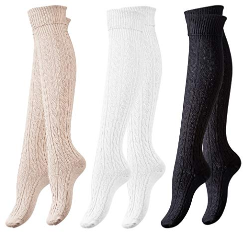 b4c1ca0d6d1 3 Pack of Women s Knee High Cotton Boot Socks Cable Patterned by Vincent  Creation