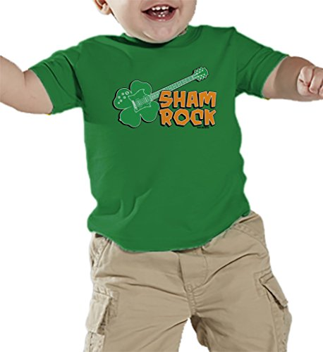 [Toddler/Infant Shamrock Guitar - Rockstar - Clover - St Patricks Day T-shirt T-shirt (12 Months, KELLY] (St Patricks Day Shirts For Toddlers)