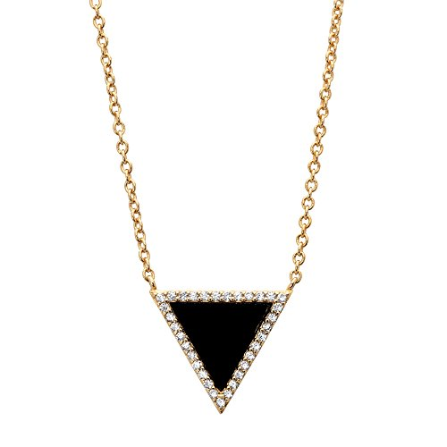 Lux 14k Gold Over .925 Silver Triangle Necklace Genuine Black Onyx and Cubic Zirconia 18