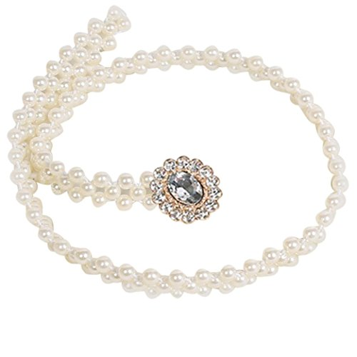 AMA(TM) Women Skinny Pearl Chain Waist Dress Belt Strap Waistband (75cm, White 3) (Chain Belt Jean)