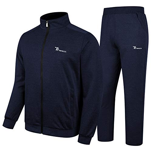 - YSENTO Men's Casual Tracksuit Gym Training Athletic Sweatsuits Set Blue Size L