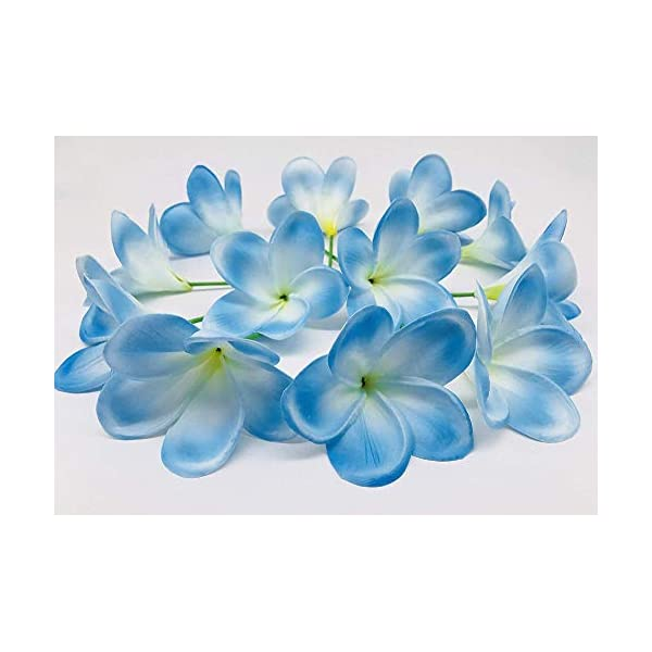 MARJON Flowers Bunch of 12 PU Real Touch Lifelike Artificial Plumeria Frangipani Flower Bouquets Wedding Home Party Decoration (Light Blue)