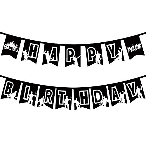 (Gaming Party Happy Birthday Banner, Pop Game Party Supplies Decorations Floss Dance Like a Boss For Kids Adults, Black Personalized Birthday Flags Banner For Video Game Party)