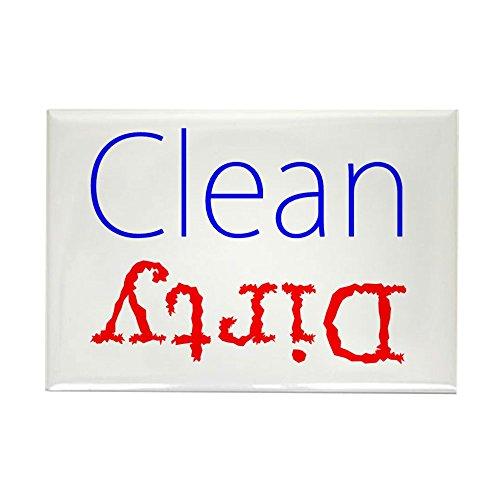 Rectangle Red Magnet (CafePress - Clean Dirty Dishwasher Red Blue - Rectangle Magnet, 2