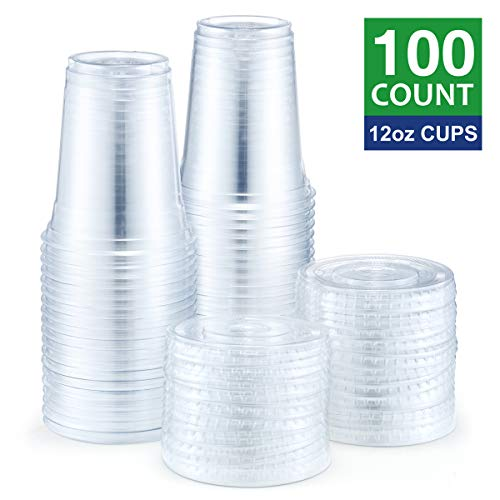 Eupako 12 oz Plastic Cups with Lids 100 Sets Clear Disposable Plastic Party Cups with Flat Lids To Go, Cold Drink Cups, Smoothie Cups, Milkshake Cups]()