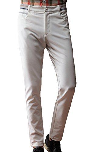 MRN Men's Fashion Straight Skinny Flat Front Cotton Pant 34 White