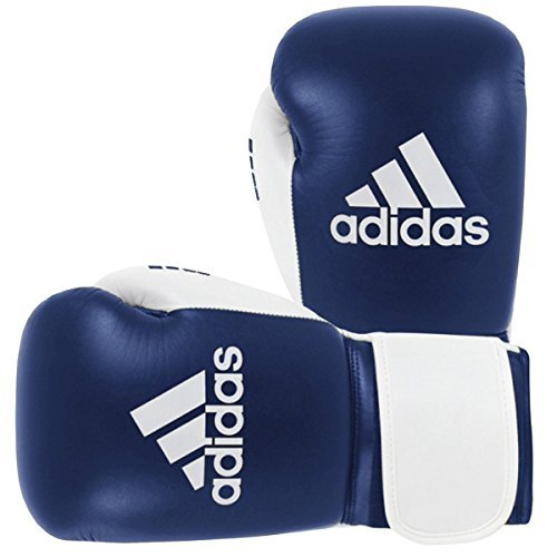 adidas Glory Professional MMA/Boxing 100% Full Grain Real Leather (Blue/White, 16oz)