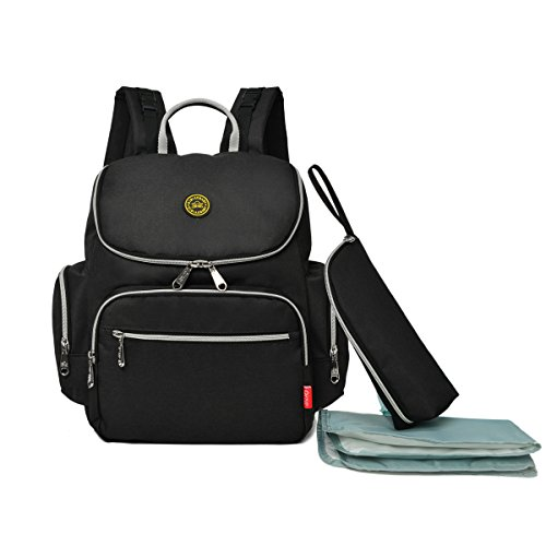 Diaper Bag Nappy Changing Backpack, Sky Castle Multi-Function Travel Backpack for Baby Care/School/Sport Large Capacity Stylish Organizer for Student/Girl/Women(Black)
