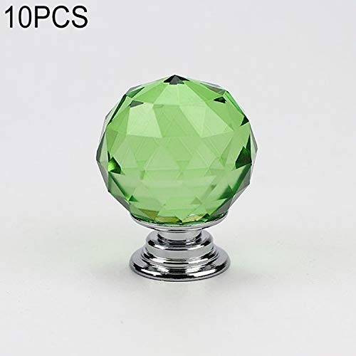 (BuyBuyBuy Exquisite 30mm K9 Plated Transparent Glass Crystal Spherical Single Hole Drawer Handle 10 PCS Convenient (Color : Green))
