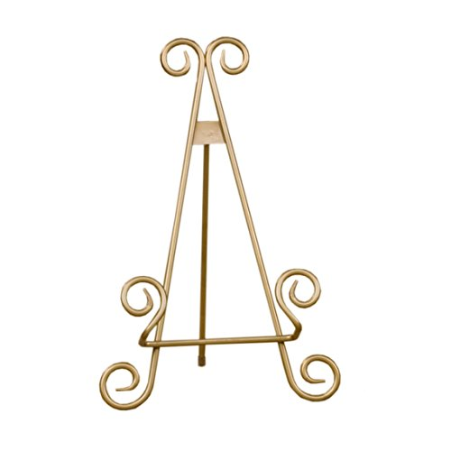 Red Co. Decorative Curved Plate Stand and Art Holder Easel in Gold Finish - 13