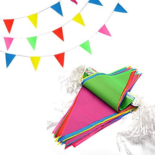 SmoTecQ 10-Meter Weatherproof Pennant Banners 5 Pack, Each Bunting 15 Pieces Multi-Color Triangle Flags 25x35cm, Versatile Party Supplies for Carnival, Circus, Grand Opening and Festival Celebration]()
