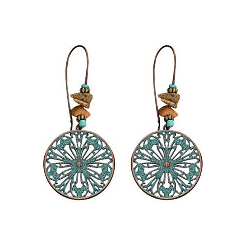 Haxikocty Women Ethnic Style Pendant Earrings Retro Green Pine Carved Water Drop Hollow Earrings Ladies Jewelry