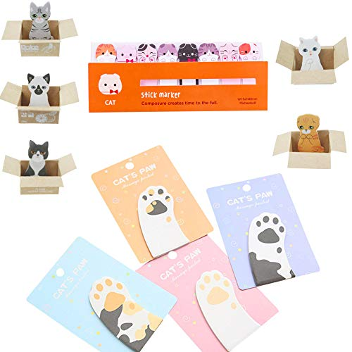 OPCOL Cat Sticky Notes Set, 4 Pads of Cat Claw, 5 Pads of Mini Kitty House, 1 Set of Cat Devider for Cat Lovers