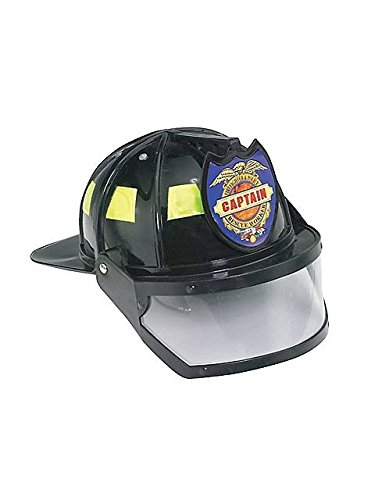 Adults Plastic Fire Hat (Jacobson Hat Company Men's Plastic Fireman Helmet with Visor, Black, Adult)