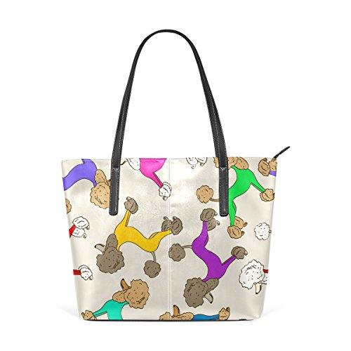 PU Women's Purses Colorful TIZORAX Totes Handbag Leather Poodle Puppy Bags Shoulder Handle Top Dogs Fashion q4X4Iw6
