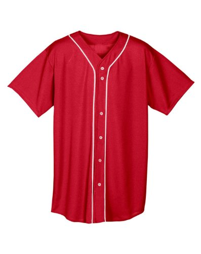 A4 N4184-SCR Shorts Sleeve Full Button Baseball Jersey, ()