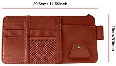 Black Car Visor Storage Konesky Sun Visor Organizer Card Storage Glasses Holder Sunshade Sleeve Wallet Clips Essential Gift for Each Driver