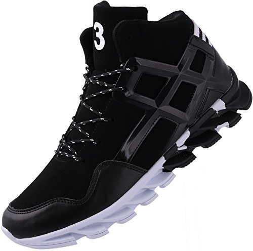 JOOMRA Men's Fashion Sneakers Black for Walking Jogging Gym Fitness Travel Lace up High Mid Top Cushion Trainer Athletic Tennis Shoes 11 D(M) US (Hi Top Tennis Shoes)