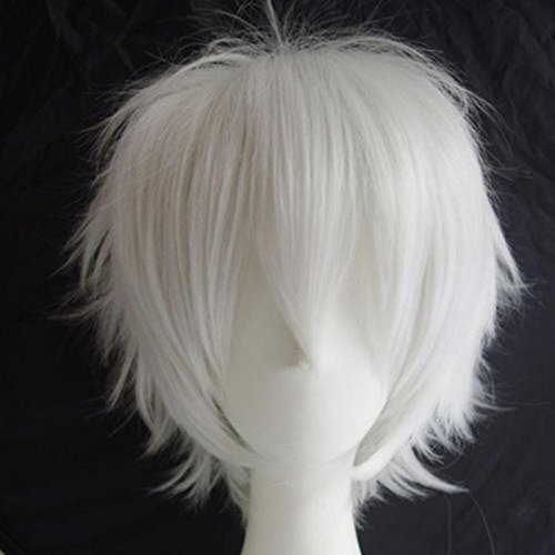 S-noilite Unisex Cosplay Hair Wig Short Straight Fashion Anime Party Fancy Style Synthetic Full Wigs White -