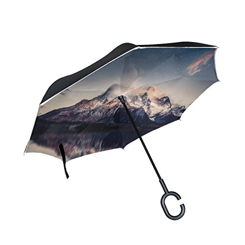 RH Studio Inverted Umbrella Mountains Lake Sky Large Double Layer Outdoor Rain Sun Car Reversible Umbrella by RH Studio