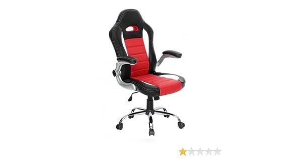 Abitti Silla de escritorio juvenil estilo Racing para Gamers, en color negro y rojo estilo racing con estructura y reposabrazos cromados, regulable en ...