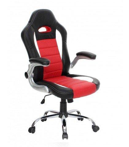 Abitti Silla de escritorio juvenil estilo Racing para Gamers, en color negro y rojo estilo