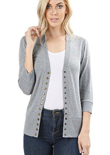 4 Button Cardigan (JNTOP Women's 3/4 Sleeve Snap Button Cardigan Sweater Heather Grey Large)