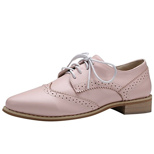 Carolbar Womens Lace Up Confort Décontracté Doux Talon Oxfords Chaussures Rose