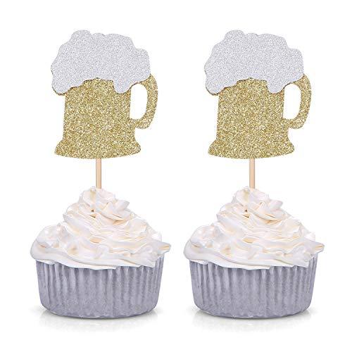 Beer Mug Centerpieces (24 CT Gold Glitter Beer Mug Cupcake Toppers Wedding Luau Bachelorette Celebrating Party)