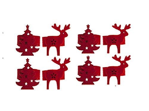 Pack Of 8 - Luxury Red Felt Christmas Tree & Reindeer Napkin Rings - Christmas Tableware
