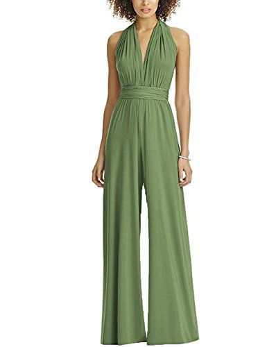 CINDYLOVER Women's Pantsuits Multi-Way Bandage Wide Leg Long Romper Pants Jumpsuit Green M by CINDYLOVER
