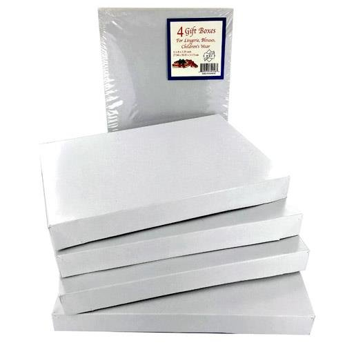 4PK GIFT BOXES CHRISTMAS ALL WHITE 11X8X1.25 INCH FOR LINGERIE BLOUSES, Case of 48