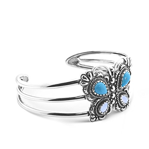 American West Sterling Silver, Turquoise, White Mother of Pearl Butterfly Cuff Bracelet - Small - Classics Collection (Pearl Pearl American Bracelet)