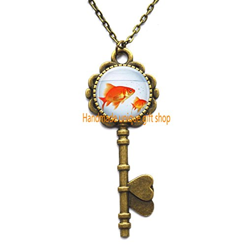 Fish Key Necklace, Goldfish Bowl, Fish Jewelry, Fish Tank, Aquarium, Fish Bowl Art Key Pendant in Bronze or Silver with Link Included.TD060 (C) ()